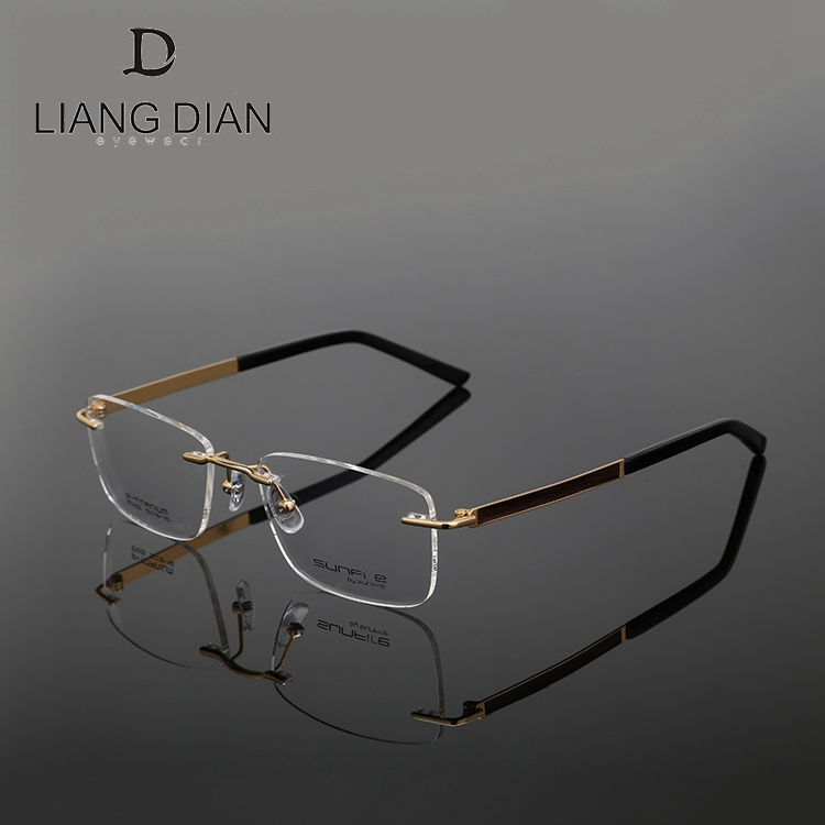 Rim less eyeglasses optical titanium, handmade metal specs frame