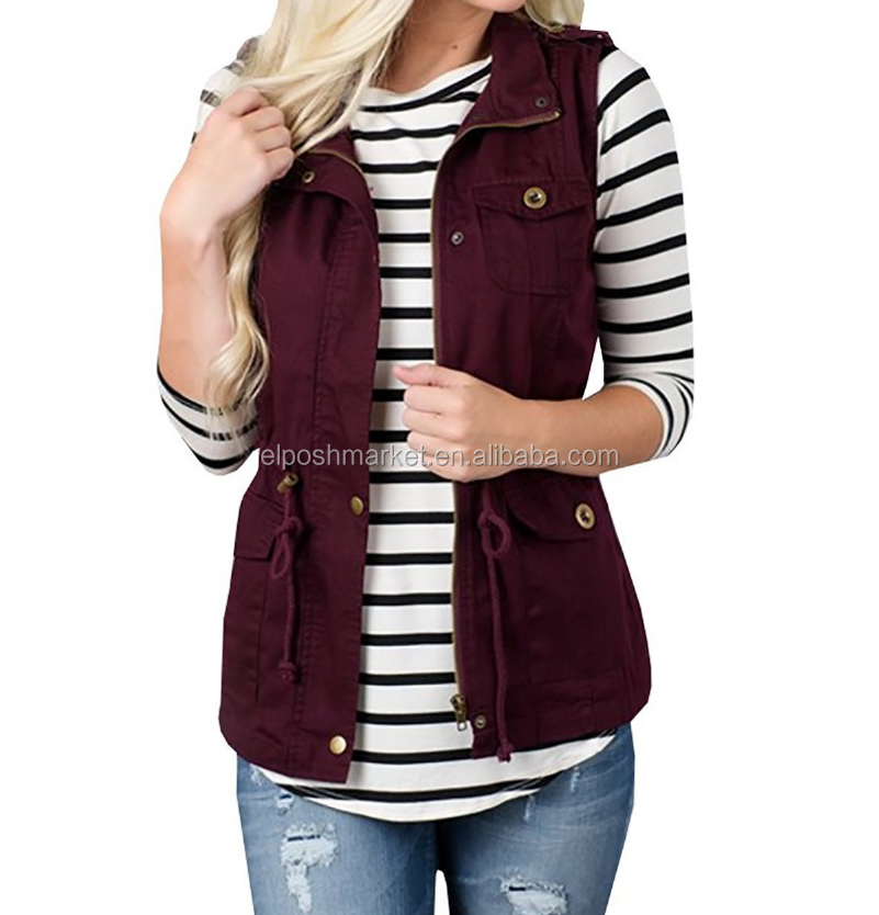 Pockets <strong>Buttons</strong> Casual Waistcoat <strong>Utility</strong> Military Women Vest Coat