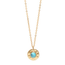 2019 new alloy inlaid natural turquoise stone pendant necklace fashion style clavicle necklace female