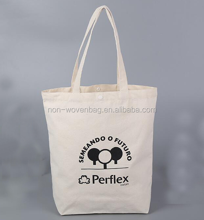 Eco friendly reusable cotton fabric bag with custom printed logo, bag with fastener