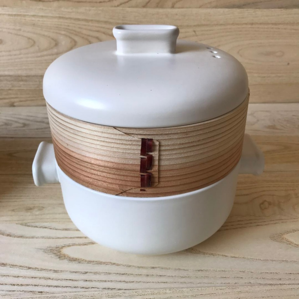 White ceramic pot bamboo food steamer for sale