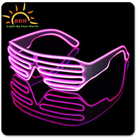 high quality crazy party glasses with EL wire shutter shades glowing in the dark sunglasses