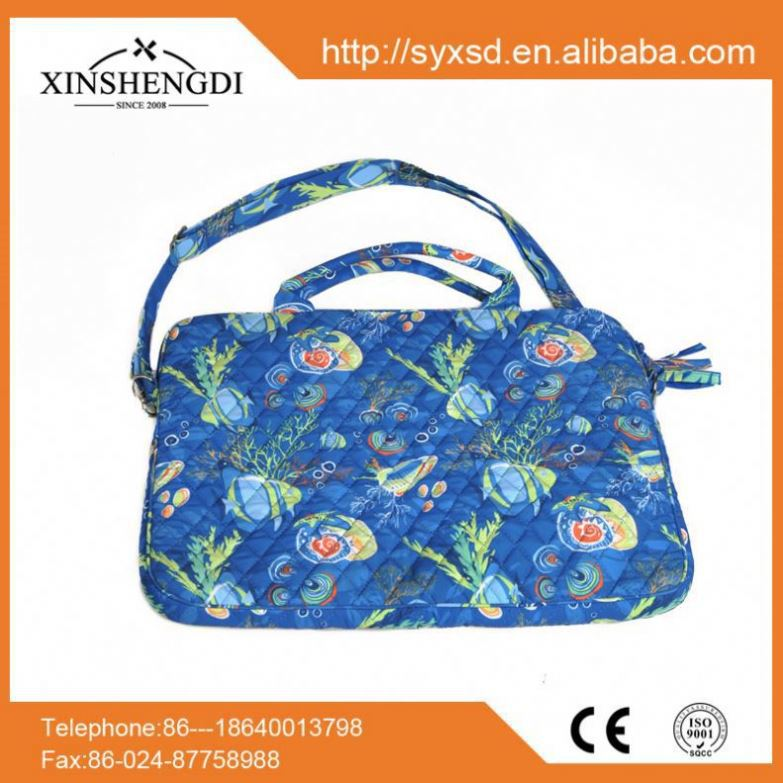 Wholesale floral mini duffle hipster cotton quilted 15.7 inch laptop bag