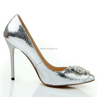 Elegant silver party dress shoes wedding shoe dress shoe with crystal