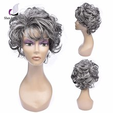 Promotional discount mixed grey wig kanekalon fiber hot selling grey wig for women