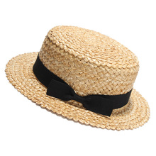 hot sale promotional summer beach flat top straw boater hat natural grass blank plain straw hat