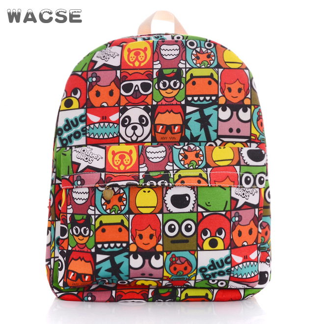 2017 korean thickened twill canvas cartoon new design school bag guangzhou
