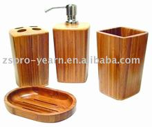 4pcs Bamboo Bathroom Accessories Sanitary Ware Set