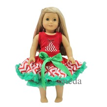 "18"" American Girl Doll Christmas Chevron Tree Red Tank Top with Red White Chevron Pettiskirt"