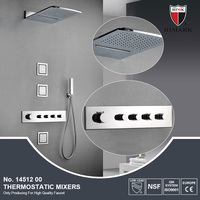 Wall mounted thermostatic rain shower set with jets