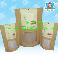 Custom made kraft paper stand up pouches paper bags with window