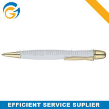 White Barrel Golden Simple Classic Twist Ball Pen