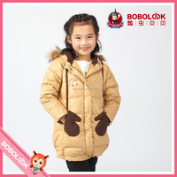 Wholesale kids clothing girl down coat with decorative gloves design, direct buy china