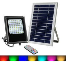 Solar powered outdoor lights IP65 solar garden street light led floodlight with <strong>RGB</strong> 7colors