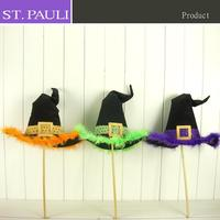 24 inch tall glitter powder fabric halloween party decorative witch stick