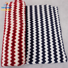 Soft polyester printed knitted red and white striped flannel fleece fabric for winter blanket