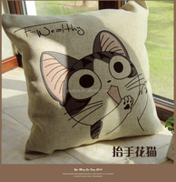 cute Animal cat linen Cushion cover