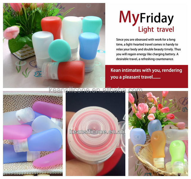 China Manufacturer Squeezable Silicone Refillable Toiletry Bottles