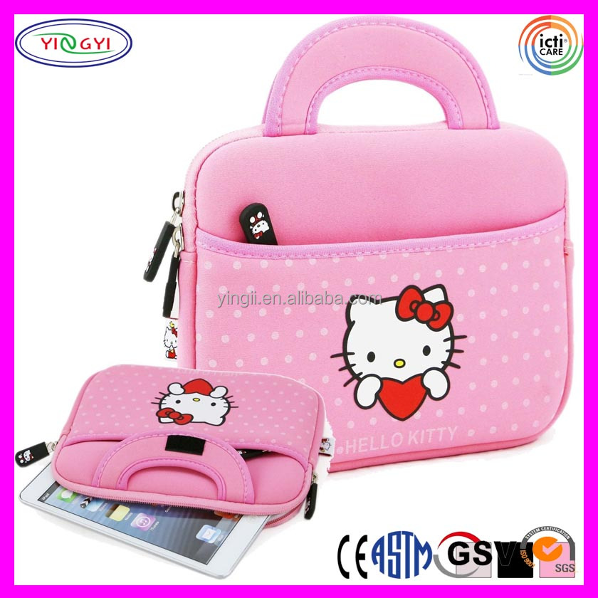 "A305 Pink Hello Kitty Soft Plush Inner Lining Branded Zipper 7"" Tablet Case"