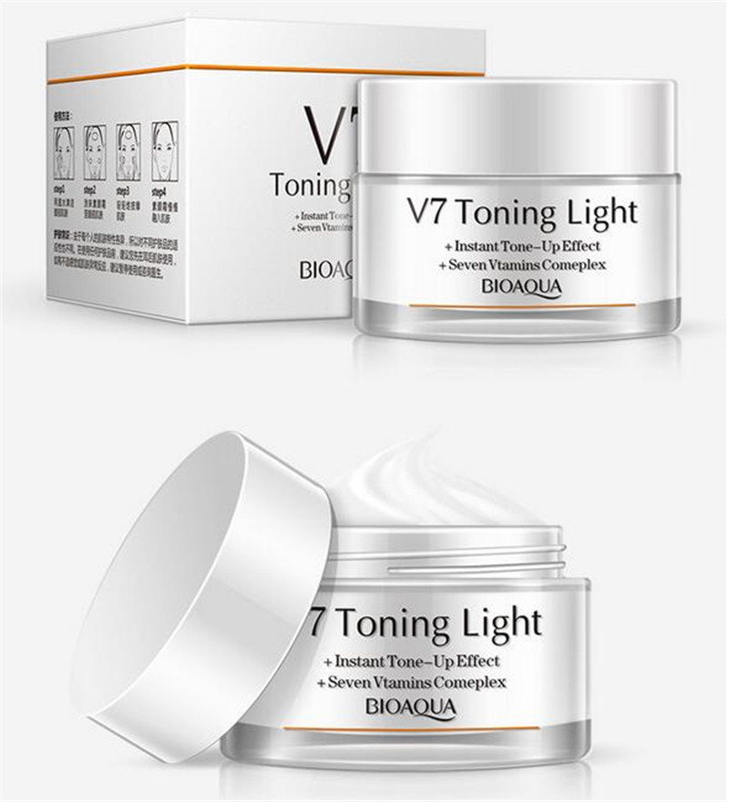 BIOAOUA V7 Toning Light Lazy <strong>Cream</strong> Moisturizing Whitening Naked Makeup Concealer Complex Facial <strong>Cream</strong> Natural Cosmetic CA4444