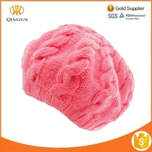 Cable knit beret with fleece band lining beanie