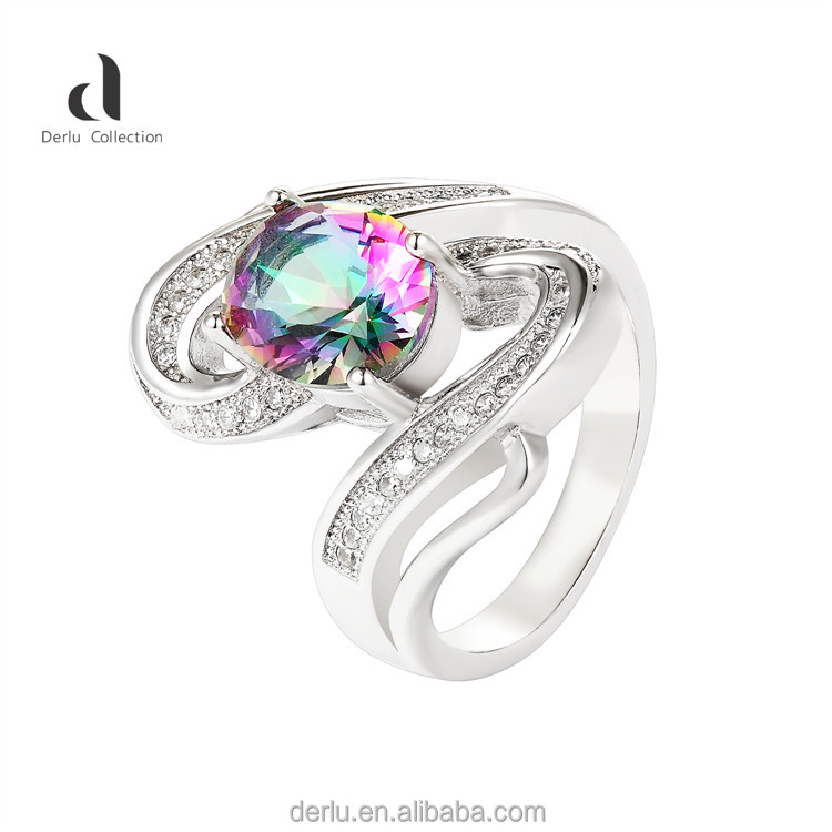 Rainbow color ice stone rings jewelry women 925 sterling silver ring