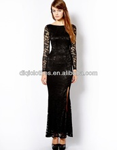 New style long sleeve backless lace dress with high slit