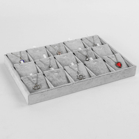 Hot Sales 15 Slot Velvet Compartment Jewelry Exhibition Tray