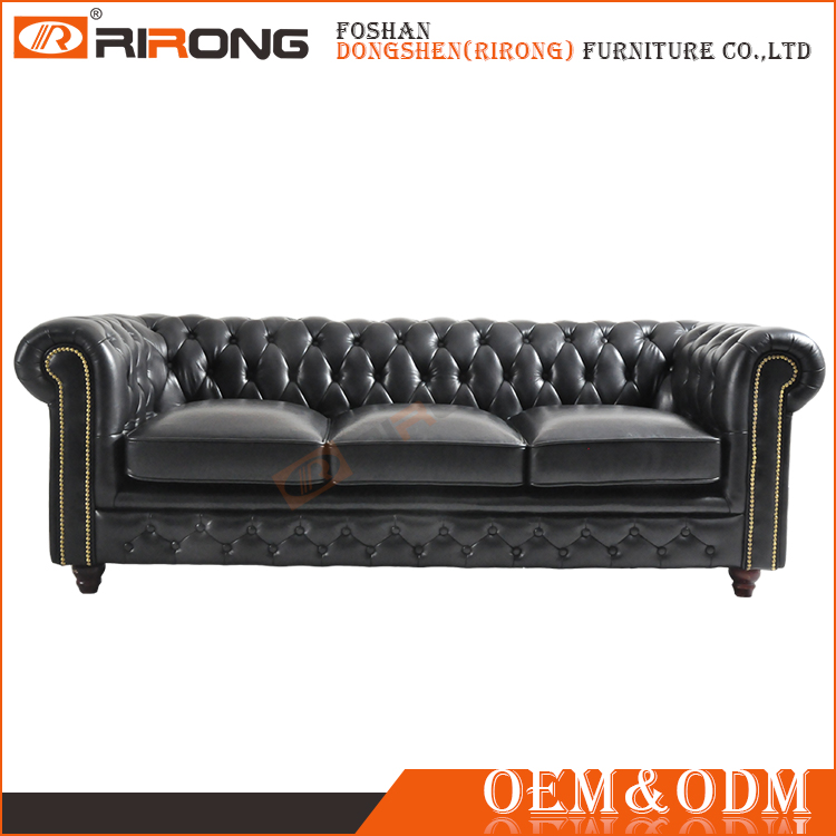 High end luxury multi colors tufted button black leather upholstered chesterfield sofa
