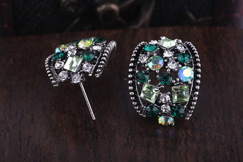 2017 New design ladies colorful rhinestone earrings ear ring 6601