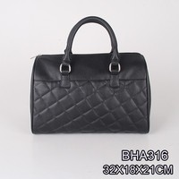 China manufacture classic style ladies Designer big black quilted PU handbag