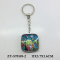 2017 New square metal glass key ring keychain