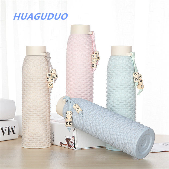 Spain 2018 best selling daily use product Wheat straw eco friendly water bottles Child student glass drinking <strong>cup</strong>