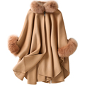 CX-B-P-19B Hot Sell Wool Winter Fox Fur Cashmere Scarf Pashmina Shawls