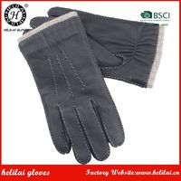 HELILAI Deer Leather Gloves ,Classical basic styles hand stitching Men,100% wool lining men deer gloves