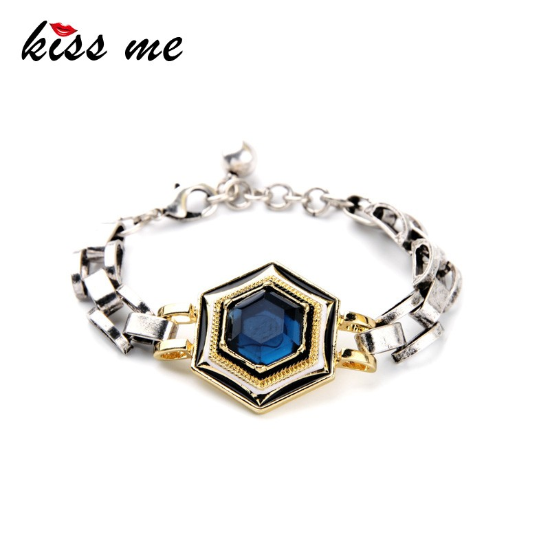 Silver Chunky Chain 2015 Mexican Solitaire Blue Bracelet Women Jewelry