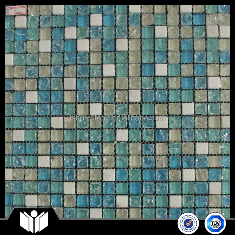 Broken Glass Mix Marble Stone Mosaic Wall Tile