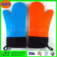 Silicone Oven Mitts Protection With Extra Long Thick Cotton Lining for Baking/Grilling /Overall Cooking Mix Colors