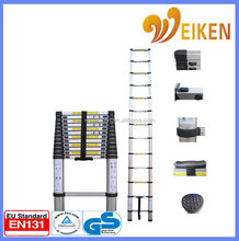new design en131-6 soft Aluminum step Ladder telescopic ladder 3.8 meter with finger protection made in .