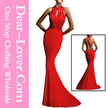 Sex Red Open Back Fine Flowers Wedding Long Evening Party Wear Gown