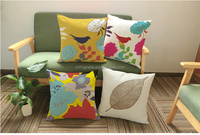 2016 Wholesale sublimation printed bird cushion cover bamboo pillow case