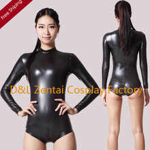 MOON BUNNY Adult Sey Black Shiny Metallic Catsuit For Women Leotard Costume With Crotch Zipper For Female wholesale MOQ 1set