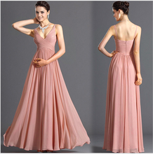 Pink spaghetti strap off shoulder women evening dress /bridal gown DME-6981
