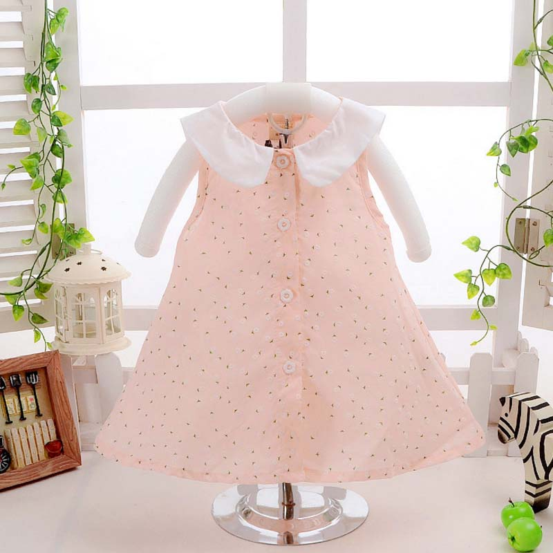 TC9015 wholesale plain collar children dress long girls frock