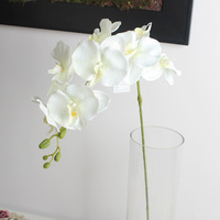 White orchid stem artificial fabric flower for wedding wall decoration