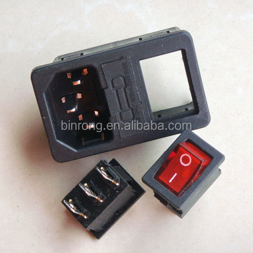 Power Socket AC Inlet w Fuse holder KCD1-102N Neon Light Rocker switch 10A 250VAC