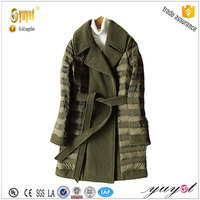 Korea fashion latest design stitching down jacket with waistband