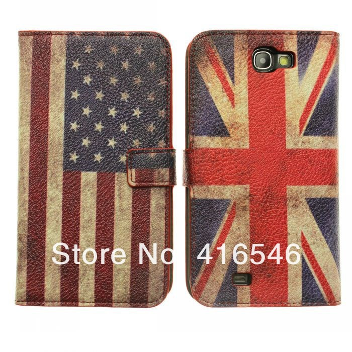 Retro USA UK Flag Leather Case for Samsung Galaxy Note 2 N7100 i9220