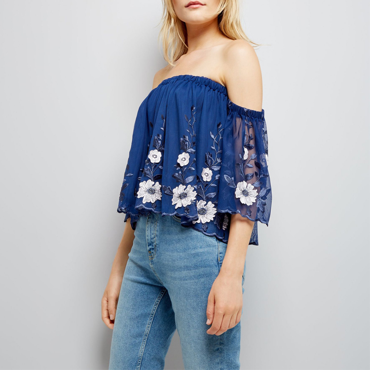 Blue Mesh Floral Embroidered Ladies Western Summer Blouse