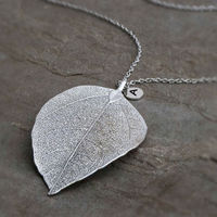2014 New Custom Logo Charm Style 925 Sterling Silver Leaf Necklace